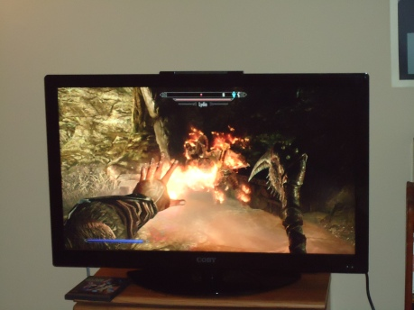 Our new TV.  Daniel is playing Skyrim.  He wanted me to take the photo so that it looked like he was doing something cool.